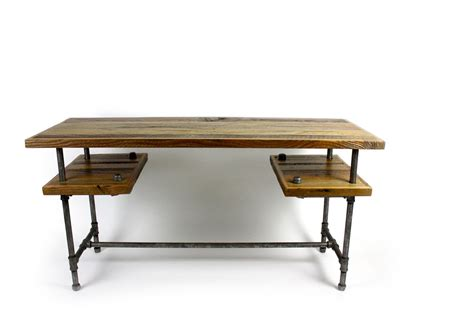 wood and steel desk custom 39 galvy 39 industrial desk reclaimed wood table by