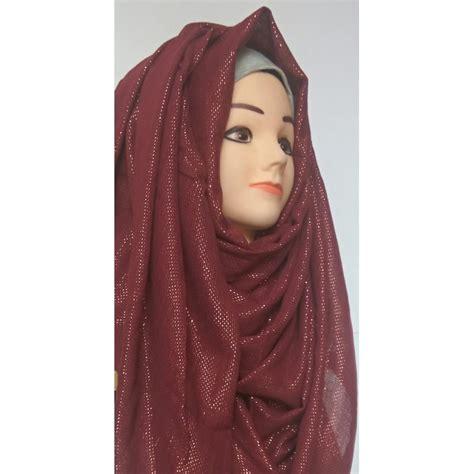 wrap hijab  maroon glitter party wear hijab  cotton linen fabric