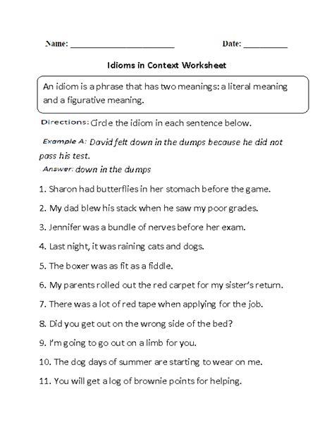 idioms in context worksheet cvc pinterest worksheets