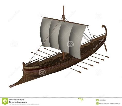 Schip Boot Verschil by Ancient Greek Boat 3d Render Stock Illustration