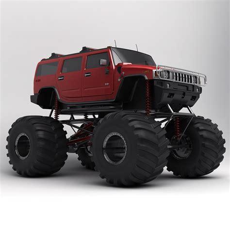 monster hummer hummer h2 monster truck 3d model