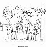 Choir Singing Cartoon Coloring Senior Outline Clipart Toonaday Illustrations sketch template