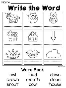 ou and ow worksheets activities no prep teaching language phonics worksheets