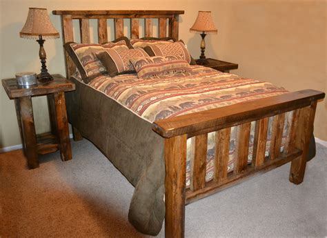 rough sawn pine timber bed rustic furniture mall