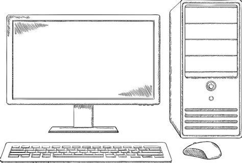 sketch style desktop computer monitor keyboard  mouse