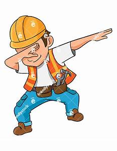 Dabbing Construction Worker Vector Cartoon Clipart ...