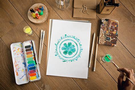 sketched  painted artwork mockups product mockups