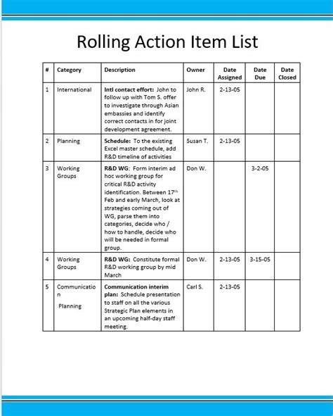 rolling action item list excel template