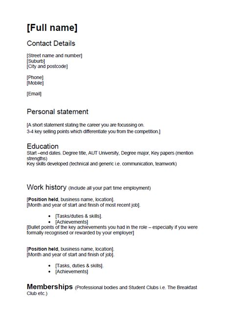 cv template nz  students planner template
