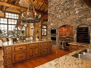 Log home luxury kitchen perfect rustic retreats for Kitchen colors with white cabinets with wagon wheel wall art