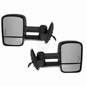 Side View Mirrors Power Heated Towing Signal Pair Set For