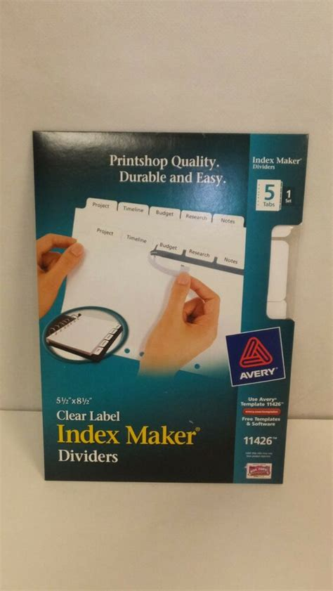 avery 11426 clear label maker dividers 5 1 2 quot 8 1
