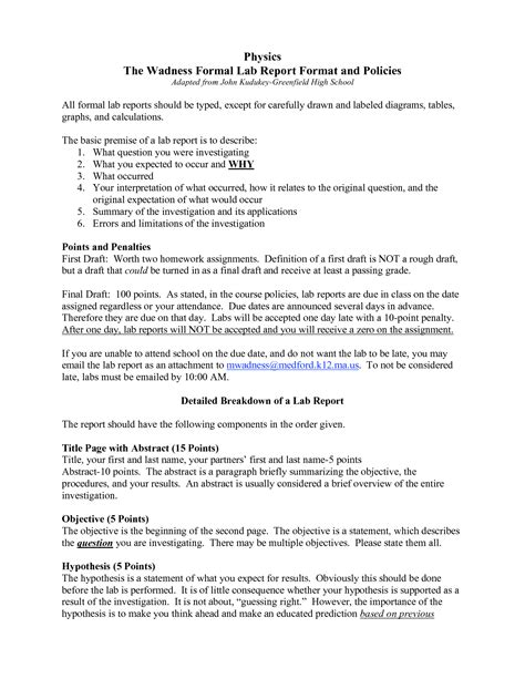 formal lab report template physics biological science