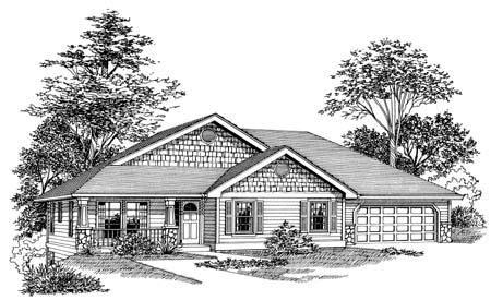 craftsman sloping lot home plan  architectural