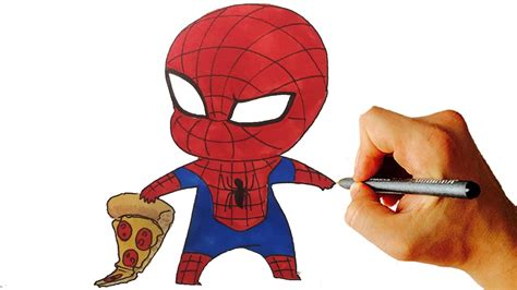 draw spiderman chibi  marvel characters easy