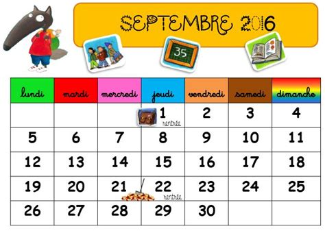 calendrier scolaire loup