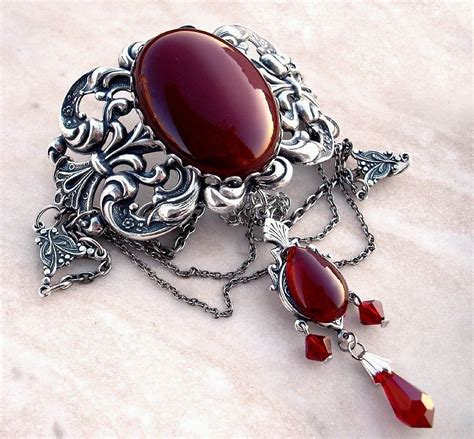 Red choker necklace Gothic choker necklace silver victorian