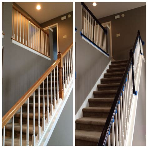 painted banister railing  match updated floors minwax