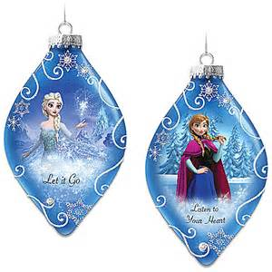 disney frozen christmas tree ornament collection premiering with set one let it go and listen