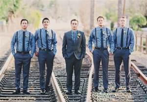 Wedding Groomsmen with Suspenders