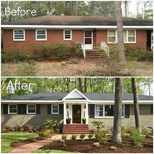 before & after - adding porch and shutters, painting brick