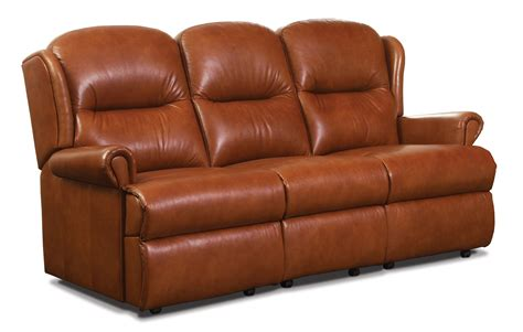 Small Corner Settee by Malvern Small Leather Fixed 3 Seater Settee Sherborne