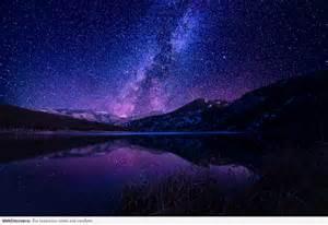 Beautiful Purple Night Sky with Stars