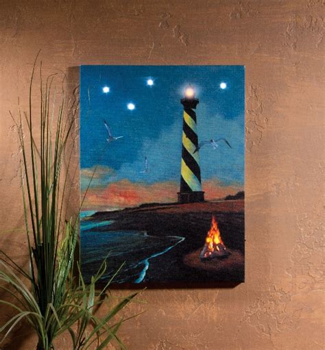 Flickering Light Canvas by Radiance Lighted Canvas Hatteras Lighthouse Shelley B