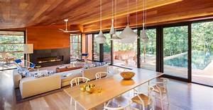 maison contemporaine construite entierement en bois With interieur maison bois contemporaine