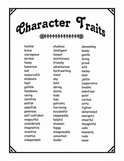 Character Traits Pdf Characteristics Words Trait Literature