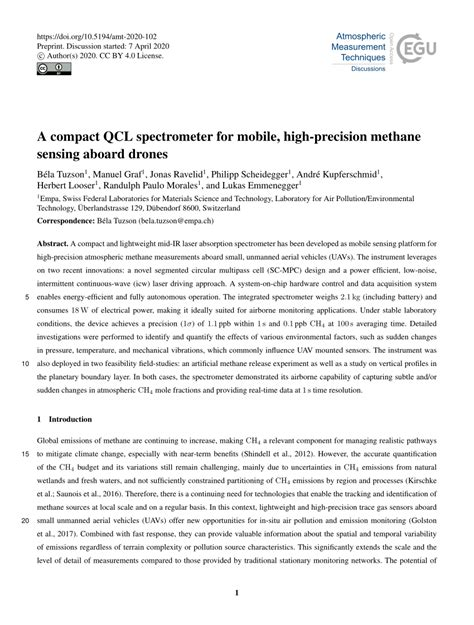 (PDF) A compact QCL spectrometer for mobile, high