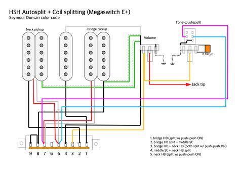 pickups wiring hsh autosplit and push pull coil split megaswitch e daniele turani