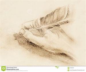 Hand Hold A Feather Quill Pen On The Letter And Envelope ...
