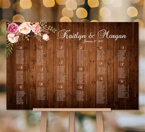 wedding seating chart poster romantic blossoms rustic