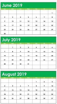month june july august calendar green misc stuff august
