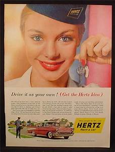 Magazine Ad For Hertz Rent A Car, Woman with Hertz Hat ...