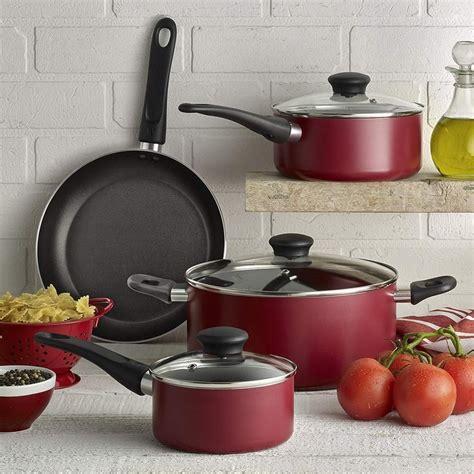 pots  pans set nonstick  piece red aluminum home kitchen cooking cookware wearever