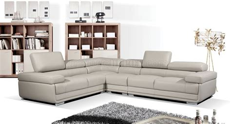 light grey sectional sofa 2119 sectional sofa in light grey leather by esf