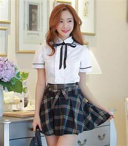 Korean students shirt + plaid skirt two-piece outfit u00b7 Fashion Kawaii [Japan u0026 Korea] u00b7 Online ...