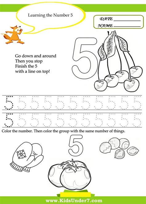7 free printable kindergarten number