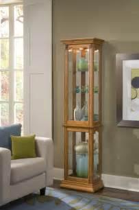narrow curio cabinet in estate oak clearance by pulaski
