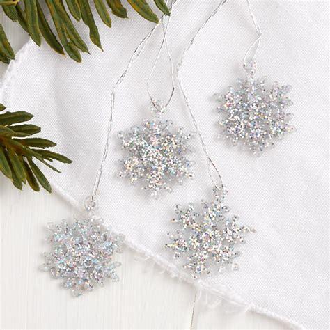 miniature iridescent snowflakes ornaments christmas