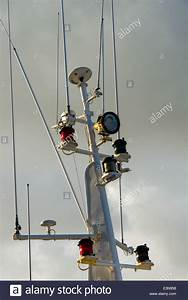 Mast of commercial fishing boat with antenna and radar ...