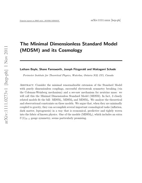 (PDF) The Minimal Dimensionless Standard Model (MDSM) and