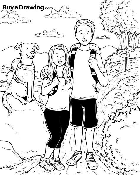couple hiking   dog custom cartoon drawing