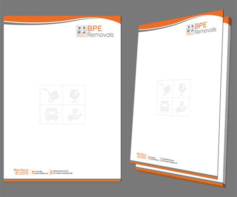 business letterhead design  bpe removals  kousik