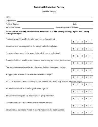 training satisfaction survey survey template sample