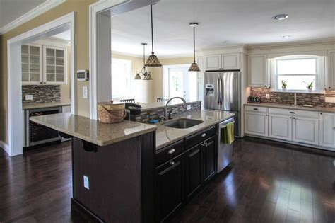Floating kitchen island traditional kitchen