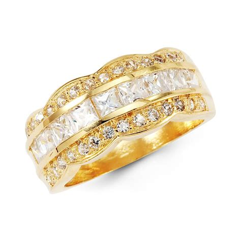 solid yellow gold cz anniversary wedding ring band
