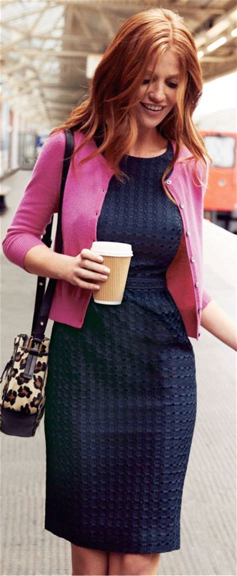 Outfit post pink cardigan colorblocked sheath dress brown mary janes